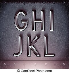 Vector Metal Embossed Font G to L - Vector Metal Embossed...