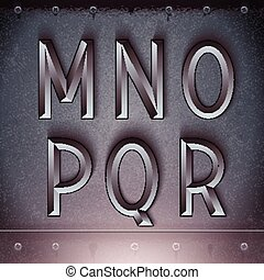 Vector Metal Embossed Font M to R