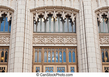 Atlanta City hall - Details of entrance to neo-gothic...