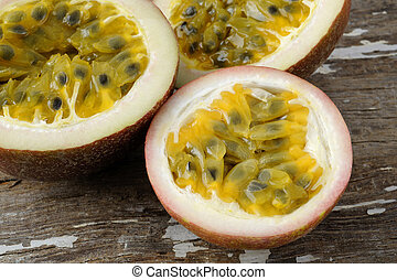 Passion fruit - passionfruit on wooden background