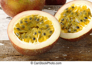 passionfruit on wooden background
