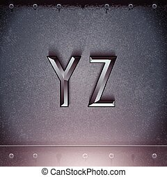 Vector Metal Embossed Font Y to Z - Vector Metal Embossed...