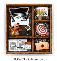 Wooden box with items of business office Vector illustration...