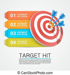Graphic information target with darts Vector illustration