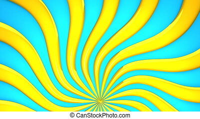 Abstract Yellow Wave On Blue Background. 3D render...