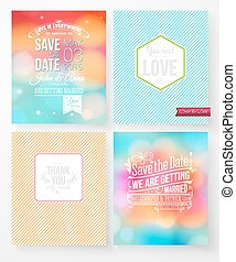 Set of wedding invitation templates - Set of colorful...