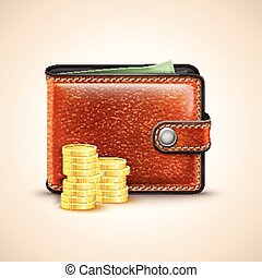 Vector Leather Wallet with Coins