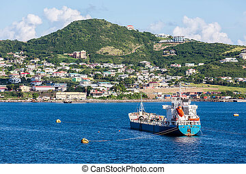 Tanker Moored at Tropical Paradise - Boats off the beautiful...