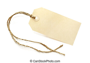 Blank Shipping Tag - Blank shipping tag, tied with brown...
