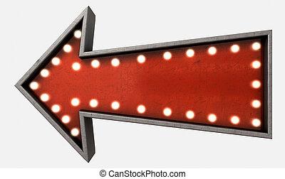 Vintage Red Arrow Sign - A belle epoque era red vintage...