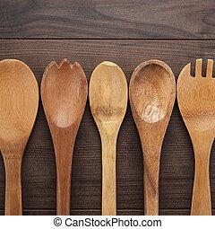 de madera, cucharas, en, el, azul, tabla,