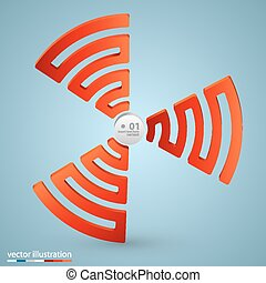 Spiral signal info art sign Vector illustration