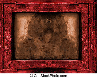 Red and gold old gothic frame