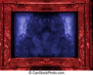 Red and blue old gothic frame