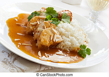 Apricot Chicken - Slow-cooked apricot chicken, with rice,...