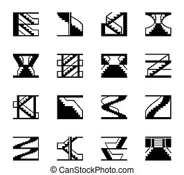 Different types of stairs - vector illustration
