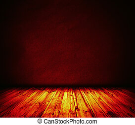 Fire wall and wooden floor interior background