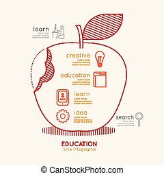 Flat linear Infographic Education Apple Outline concept.Vector Illustration.