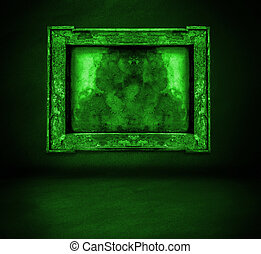 dark green wall with frame and floor interior background