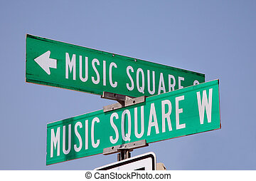 Street sign in Nashville, Tennessee - Music Square is the...