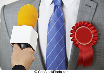 Politician Being Interviewd By Journalist During Election