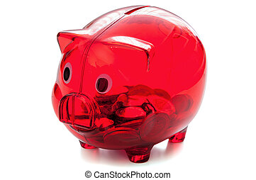 Red glass piggybank on white background - Red glass...