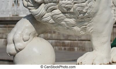 mighty lion with ball sculpture - mighty lion architectural...