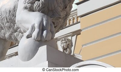 lion with a ball sculpture - Lion architectural symbol of St...