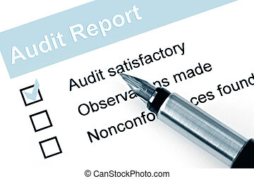 Audit Report - Fountain pen over audit report, with...