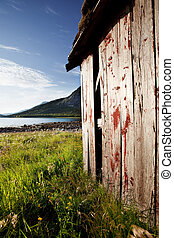 Boat House Norway - A boat house on the coast of northern...
