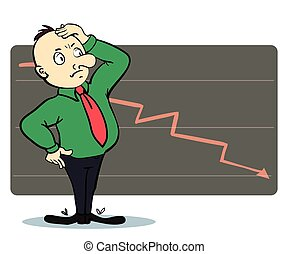 Frightened man in a chart going down. Cartoon illustration....