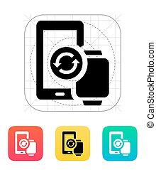Smart watch with phone synchronization icon. Vector...