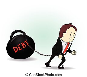 Business man burdened with Debt illustration business Vector...