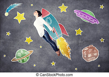 Flying girl - The girl dreams of cosmos in the imagination