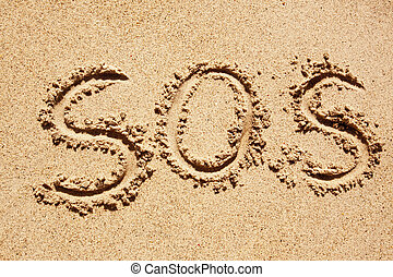 SOS - SOS written in the sand with a finger or stick