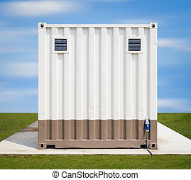 Cargo container on concrete pedestal with sky background.