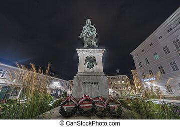 Mozart statue on Mozart Square (Mozartplatz) in Salzburg,...