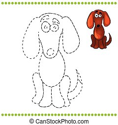 Connect the dots and coloring page with dog