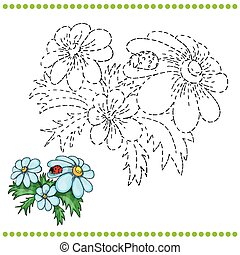 Connect the dots and coloring page with grass and flowers