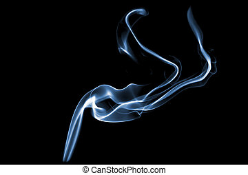 smoke with lights on black background
