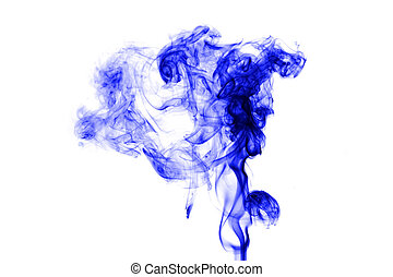 Blue smoke on white background - Blue smoke with lights on...