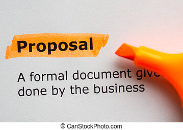 proposal word highlighted on the white background