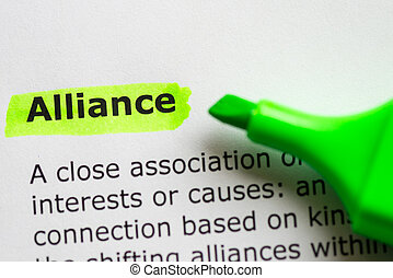 alliance word highlighted on the white background