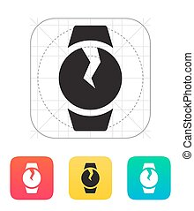 Broken round smart watch icon Vector illustration