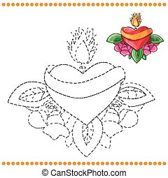 Connect the dots and coloring page with heart