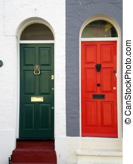 Front doors in red and blue - Narrow typical southern...