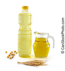Rice bran oil in bottle glass with seed and soy on white...