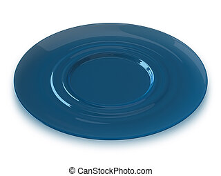 Blue glass saucer - Blue glass transparent saucer isolated...