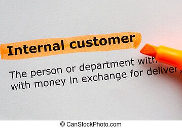 internal customer words highlighted on the white background