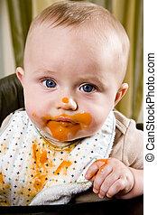 rörig, baby, tröttsam, haklapp, efter, äta,...